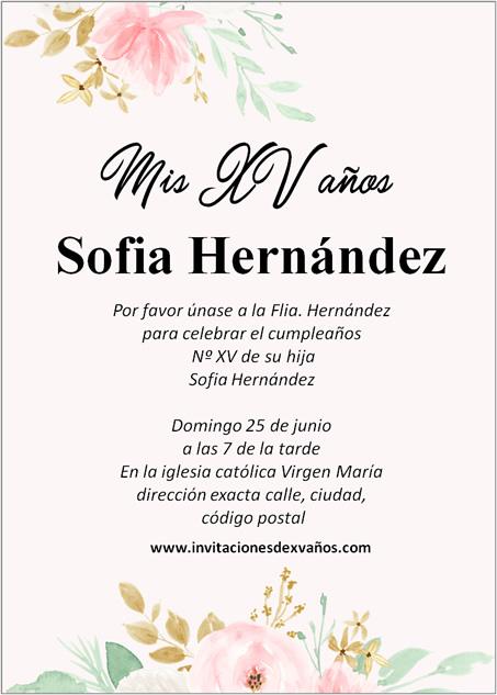 Redacción Invitación De XV Años