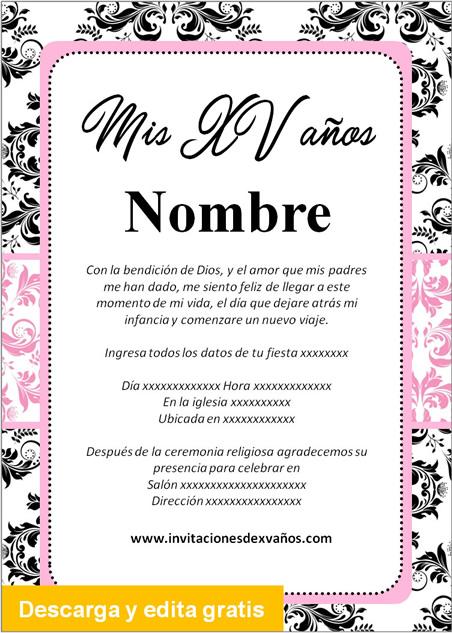 Invitación de xv años negro y rosado