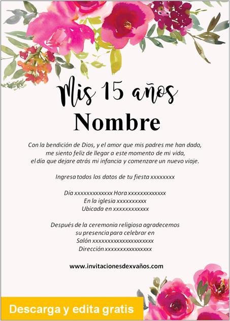 Invitaciones de 15 Años rosas vino tinto