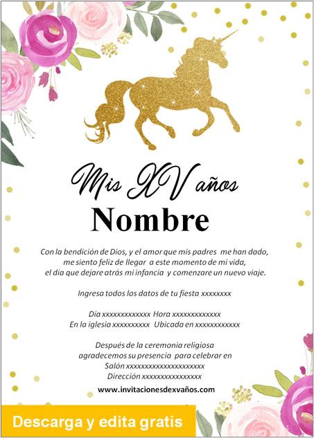 Invitación para 15 Años Unicornio rosas