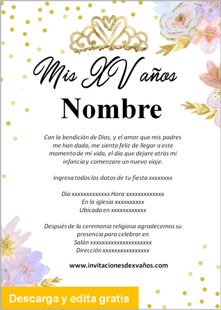 Invitación de 15 años Quinceañera