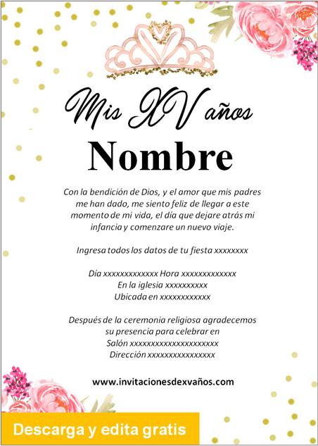 Invitación de xv años rosas detalles dorado