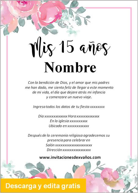 Tarjeta Invitación de 15 años rosas